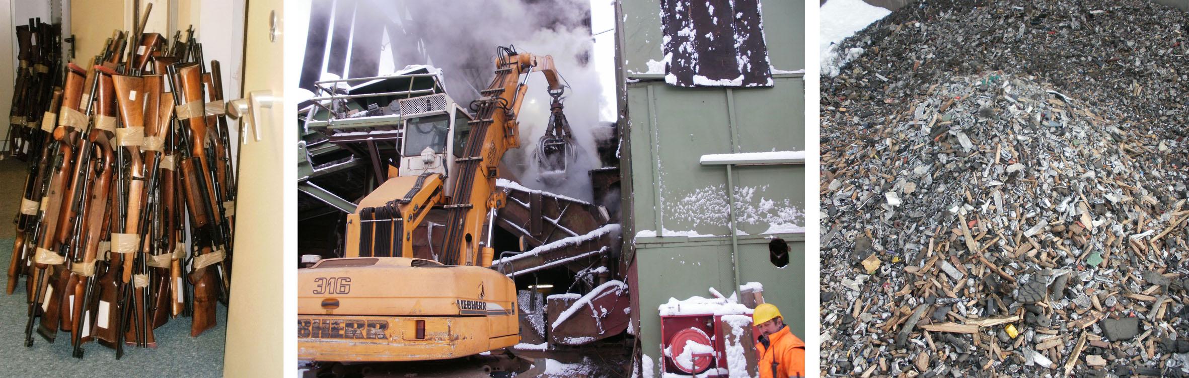 Die drei Wege der Waffen. Erstens: zur Vernichtung abgegeben, zweitens: der Schredder-Anlage zugeführt, wo sie, drittens: zerstört wurden.