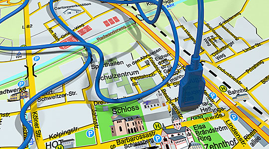 Stadtplan mit Kabel