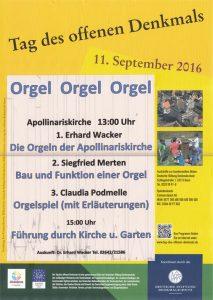 Tag des offenen Denkmals + Tag der Orgel 2016 @ Apollinariskirche Remagen   Remagen   Rheinland-Pfalz   Deutschland