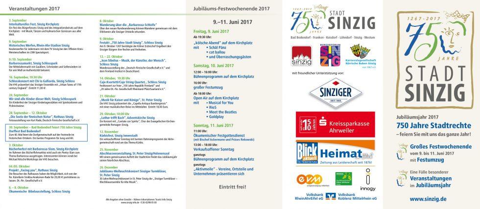 Flyer Stadtfest 2017