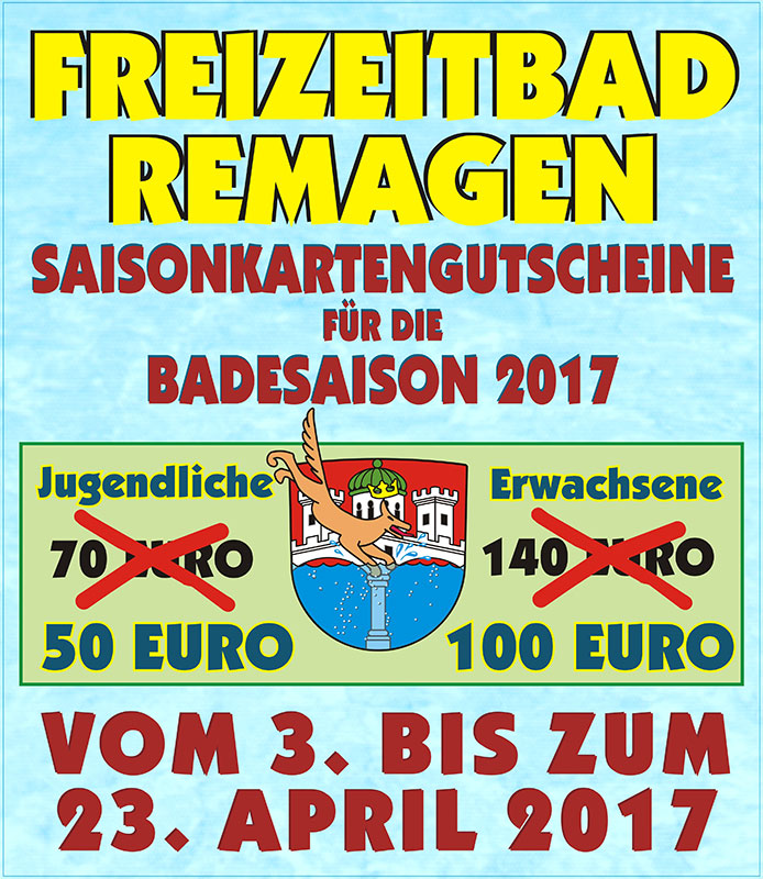 Schnäppchenverkauf Saisonkarten Freizeitbad Remagen