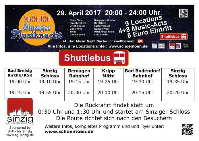 Fahrplan Sinziger Musiknacht 2017