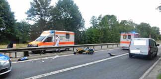 Schwerer Motorradunfall auf der B9