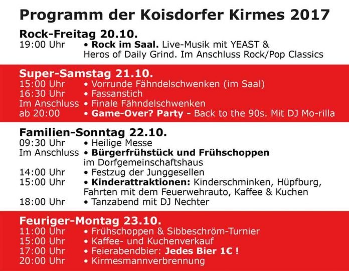 Wendelinuskirmes in Koisdorf 2017