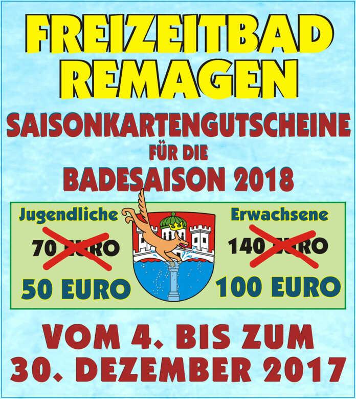 Freizeitbad Remagen - Saisonkarten als Weihnachtsschnäppchen 2017