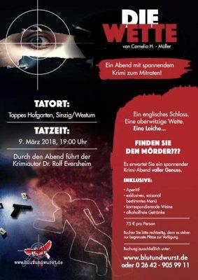 Wer findet den Mörder? Krimidinner mit Rolf Eversheim @ Tappes Hofgarten | Sinzig | Rheinland-Pfalz | Deutschland