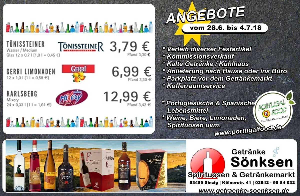 Getränke Soenksen Angebote im Juni/Juli 2018 in Sinzig