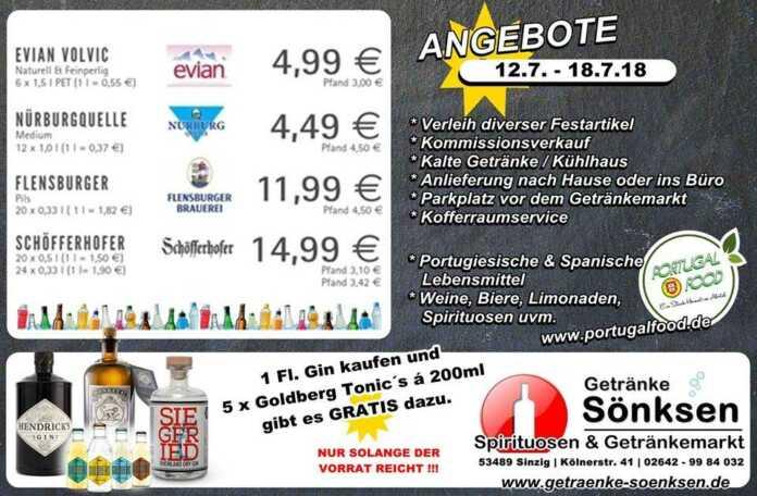 Angebote bei Getränke Sönksen Mitte Juli 2018