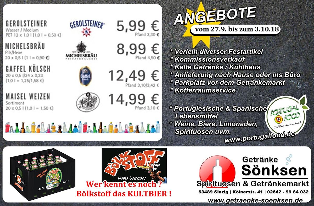 Angebote bei Getränke Sönksen 27.9. bis 3.10.18