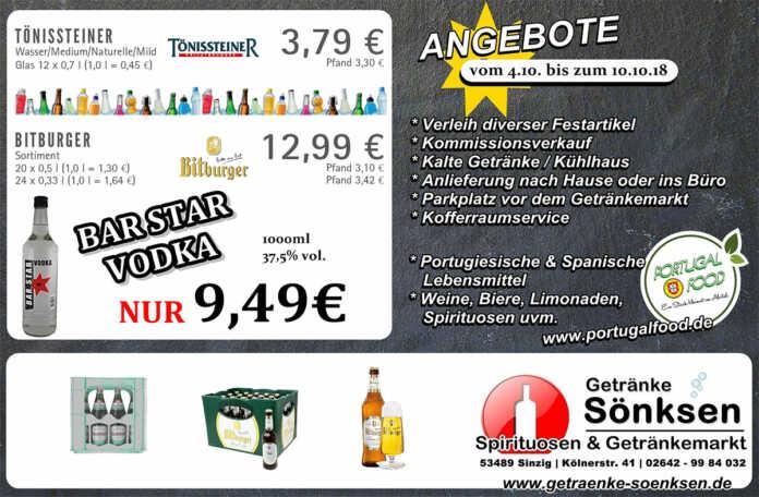Angebote bei Getränke Sönksen vom 4.10. bis 10.10. 2018