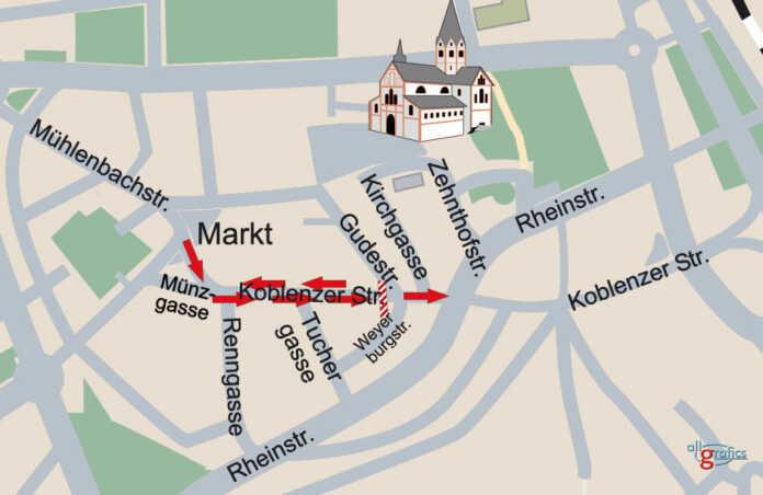 Änderung der Verkehrsführung Koblenzer Straße - Gudestraße