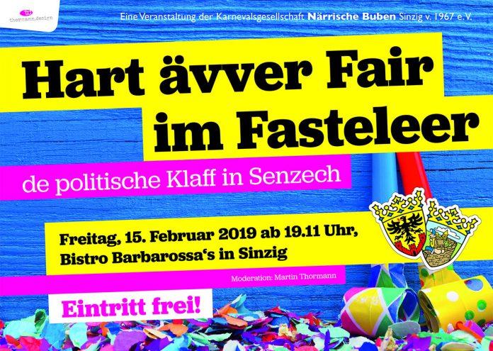 Hart ävver fair im Fasteleer - Närrischer Polit-Talk im Sinzijer Fastelovend