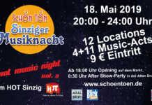 SchönTön - 4. Sinziger Kneipenmusiknacht - die Bands stehen fest