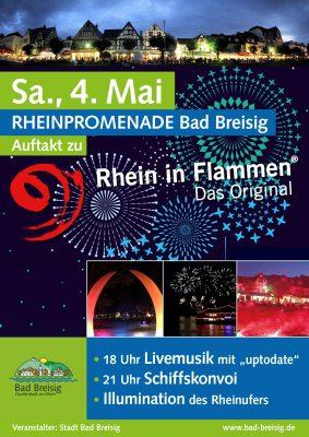 Anlässlich des 1000. Geburtstages von Bad Hönningen startet die Traditionsveranstaltung Rhein in Flammen im Jubiläumsjahr von Bad Breisig, bzw. von Bad Hönningen aus