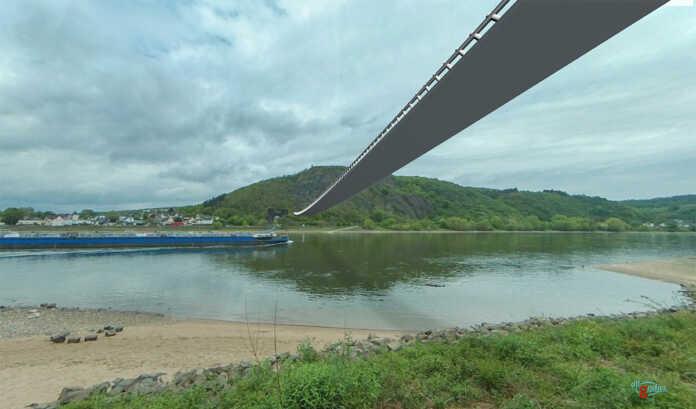 Hängebrücke über den Rhein in Remagen