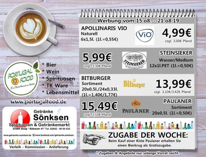 Angebote bei Getränke Sönksen KW 33/34