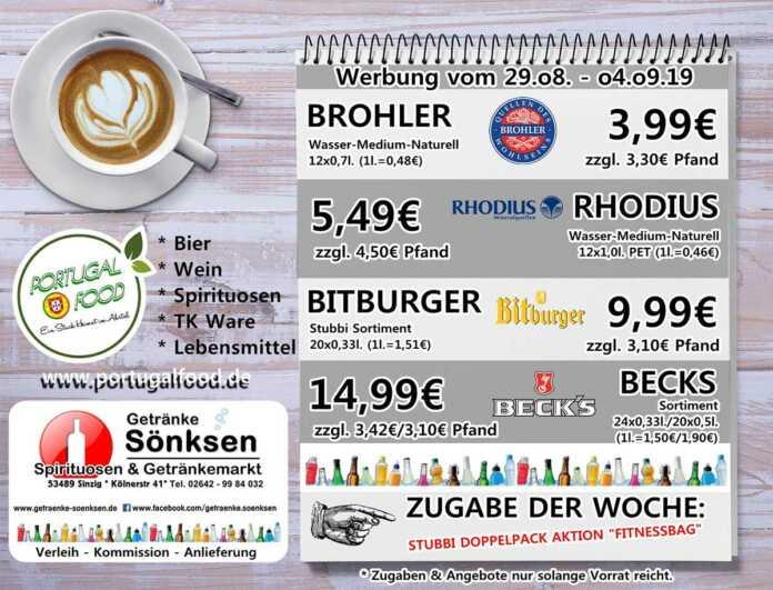 Angebote bei Getränke Sönksen KW 35/36