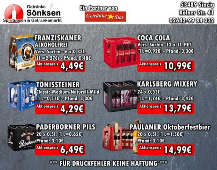 Getränke Sönksen Angebot vom 20.8. bis 26.8.2020