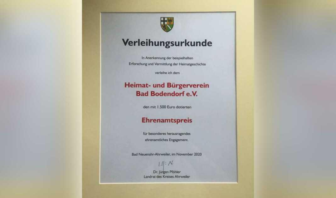Heimat- und Bürgerverein Bad Bodendorf wird mit Ehrenamtspreis des Kreises Ahrweiler ausgezeichnet